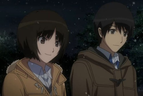 Junichi and Miya Tachibana amid falling snow