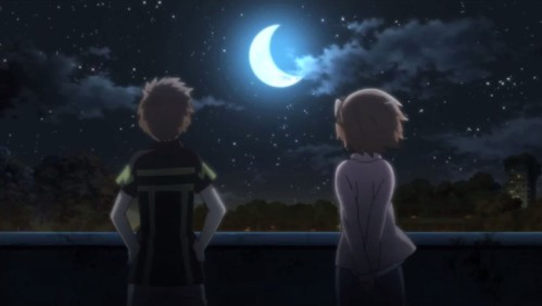 Tohya and Minori facing a crescent moon