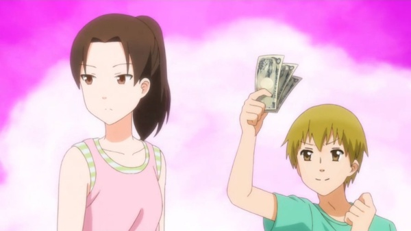 Iori Wakabayashi looks away while little brother Isamu holds up cash