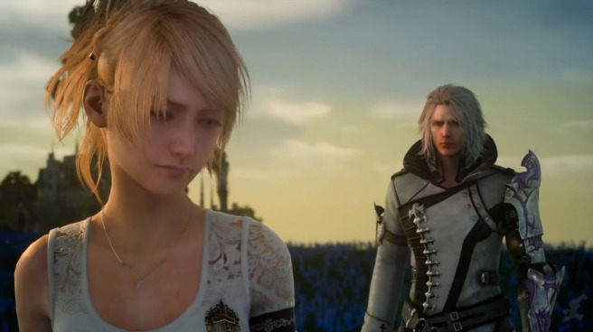 Lunafreya Nox Fleuret and Ravus Nox Fleuret standing in a field of blue flowers